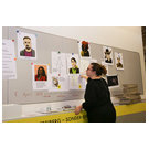 Geologist and museologist Laura Charlene Hall with mugshots of the suspects