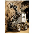 Mining robot Julius at a measurement with a hand-held RFA device underground