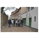 Students in the historical centre of Freiberg