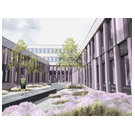 Architect's impression of the courtyard of the new ZeHS research building
