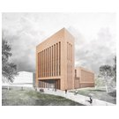 Architect's impression of the new lecture hall & library complex at TU Bergakade