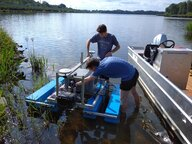 Two young scientists at the measuring platform