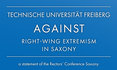 image with font: Technische Universität Freiberg against against right-wing extr