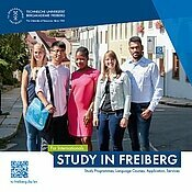 Cover of the brochure Study in Freiberg with 5 students from different countries