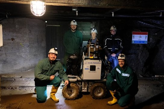 Junior researchers  at the underground milestone experiment from left to right( S. Grehl, F. Güth, F. Günther, S. Varga, R. Lösch)