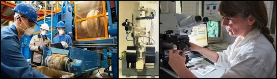 From left to right: Briquetting, magnetic separation, Quantitative Microstructure Analysis (QMA); Pictures: Detlev Müller, Tim Hühnerfürst