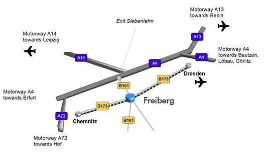 Map with directions to Freiberg