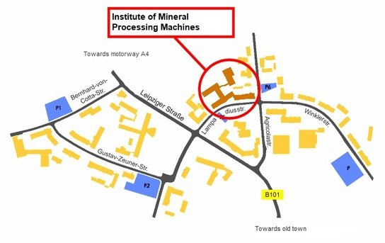 Map with directions to the institute