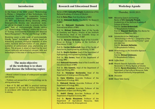 Flyer back: International Conference Applied Biotechnology in Mining