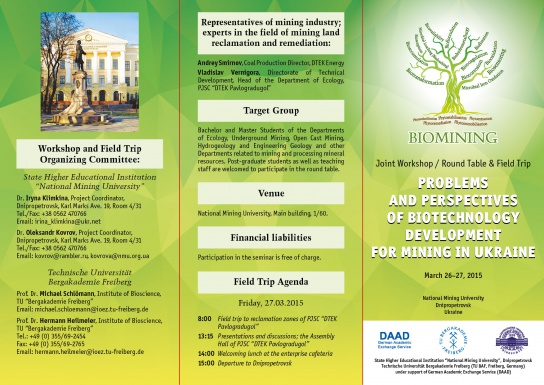Flyer front: International Conference Applied Biotechnology in Mining