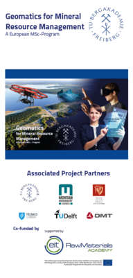 The image shows the front page of the flyer for the Geomatics program