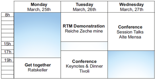 Graphic about the schedule of the RTM Conference and Demonstration Day