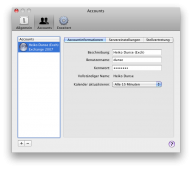 iCal-Accountinformationen