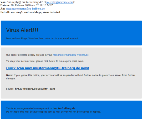 Screenshot Phishing-Mail